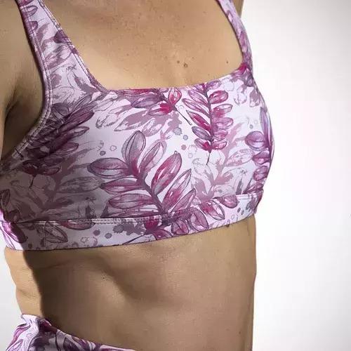 Crop Top / Surf Bikini - Pink Leaf Watercolour   Trada Marketplace