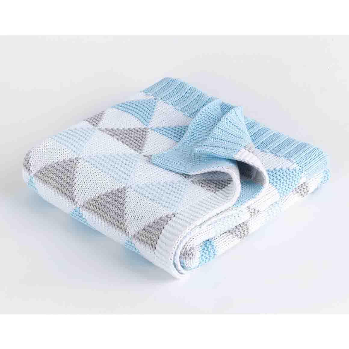 Spotty Giraffe Cot Blanket 100% Cotton double knit - BLUE TRIANGLE | Trada Marketplace