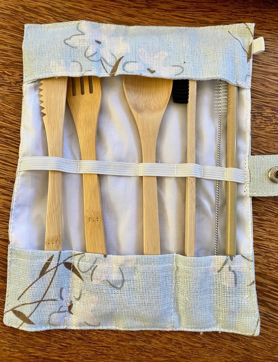 6 Piece Bamboo Cutlery Set with Toothbrush and Canvas Pouch | Trada Marketplace