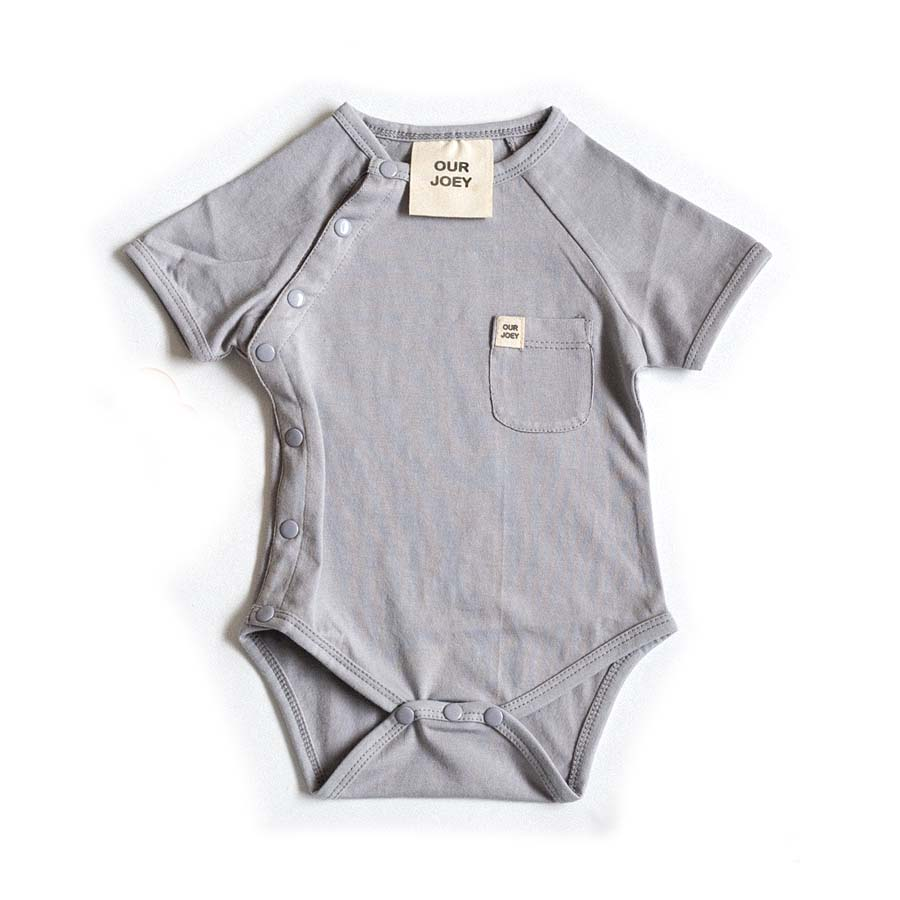 Organic Short-sleeve Bodysuit - Light Grey | Trada Marketplace