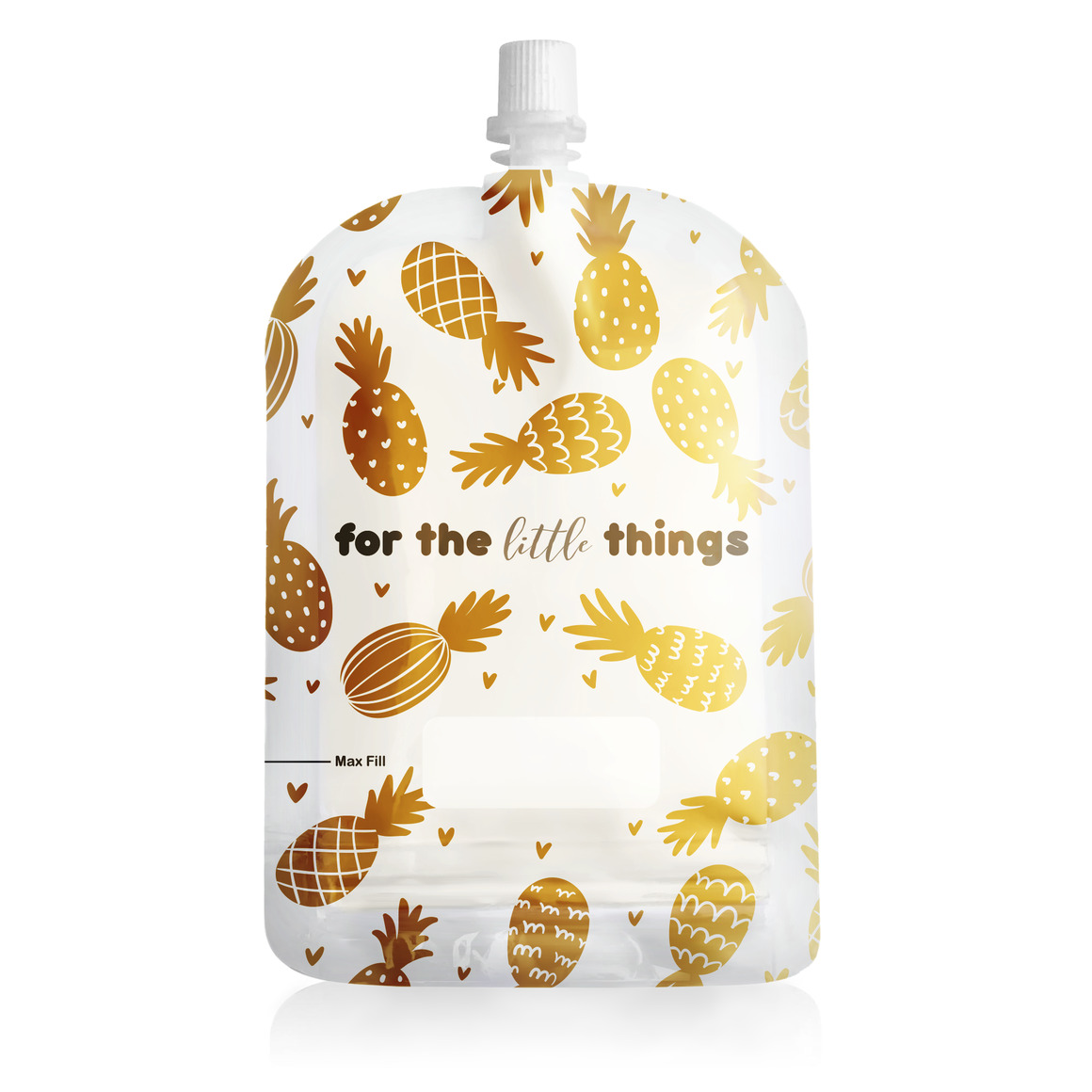 150ml Reusable Food Pouch - Pineapples Print (10 pack) | Trada Marketplace