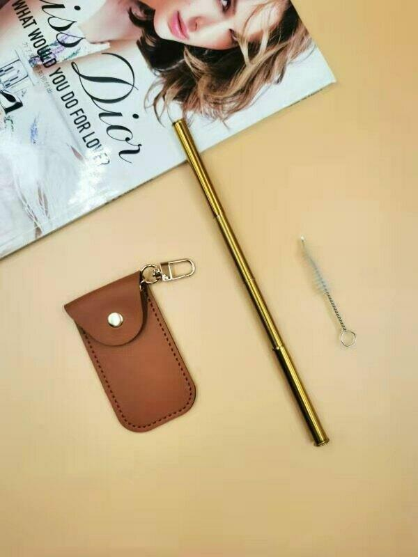 SUCKITUPstraws Collapsible Straw (Pouch) Tan | Trada Marketplace