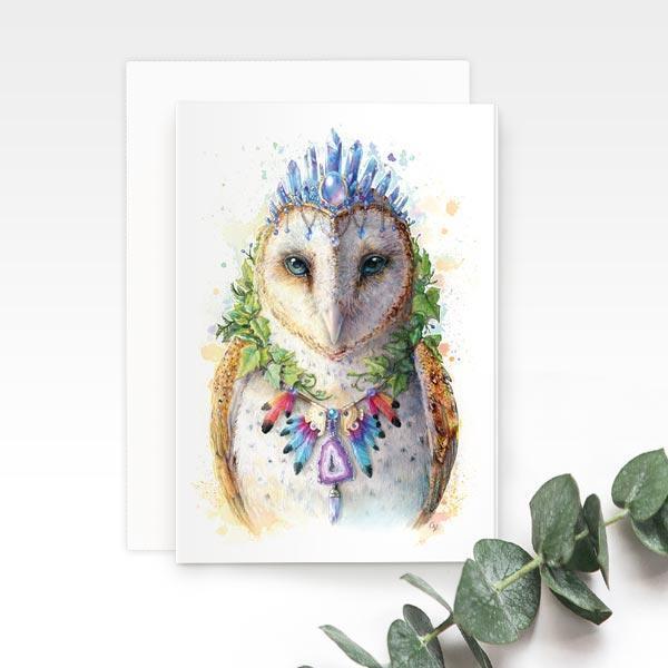 Bohemian Owl Greeting Card | Trada Marketplace