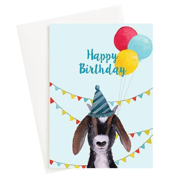 Happy Birthday Goat Greeting Card Blue   Trada Marketplace