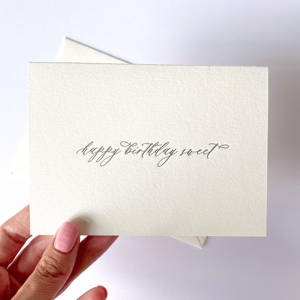 Happy Birthday Sweet  Letterpress Greeting Card   Trada Marketplace