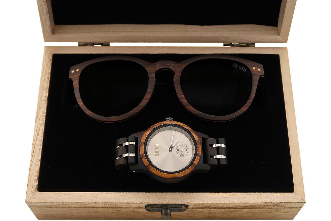 Wood Watch + Wood Sunnies combo 4 ( Santa Monica + Finite) | Trada Marketplace