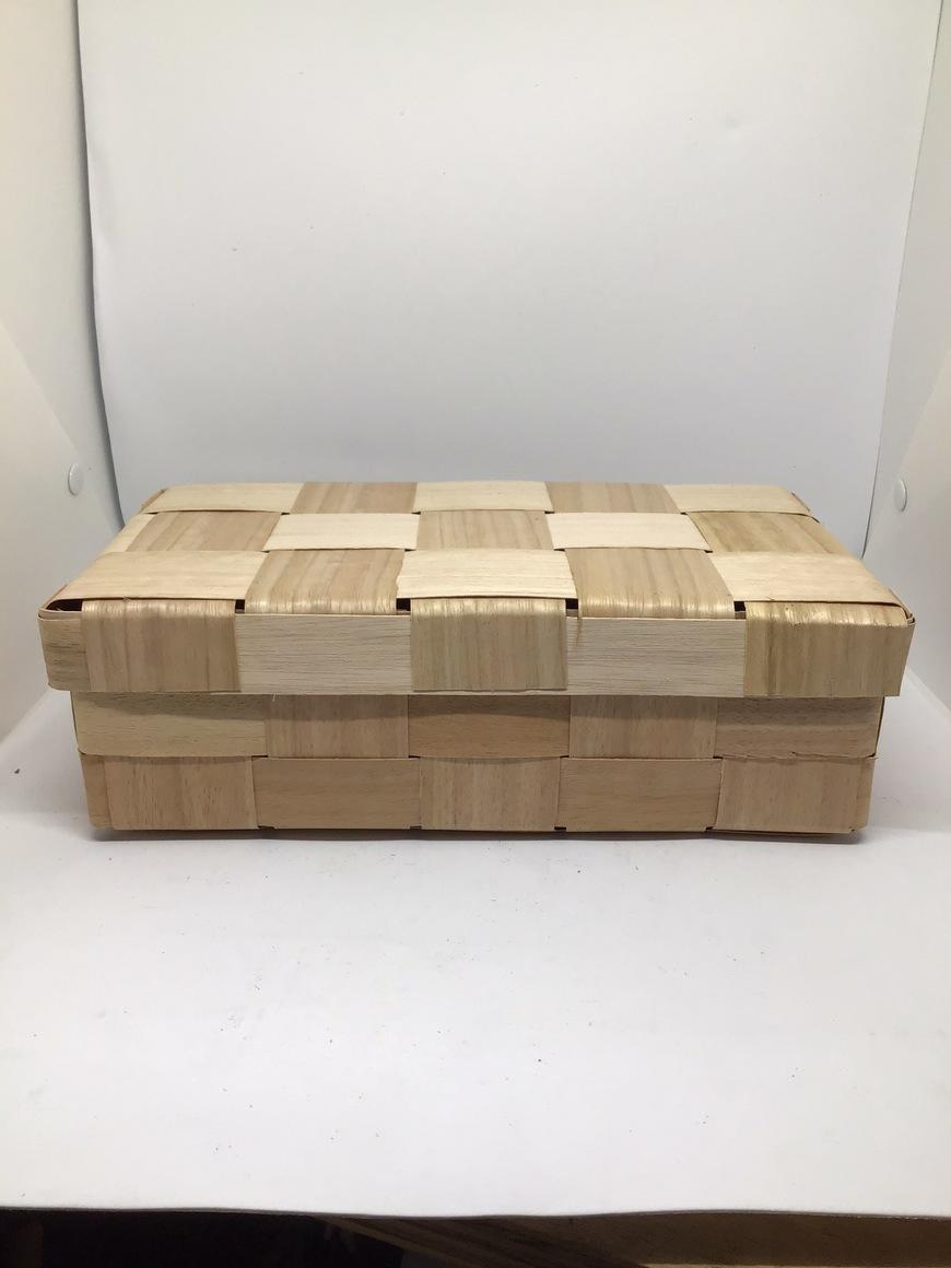 Wooden Box with lid (16x26x9cm) woven from reclaimed veneer - Hamper, gift box | Trada Marketplace