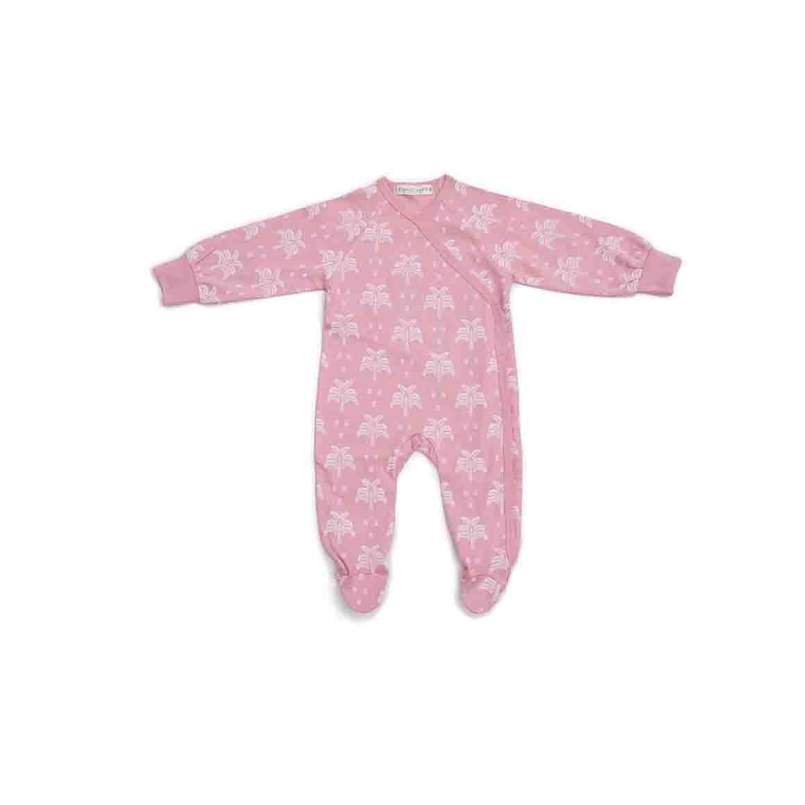 Baby Sleepsuit Kimono With Feet (Blush Pink - Palms & Pineapples Print)   Trada Marketplace