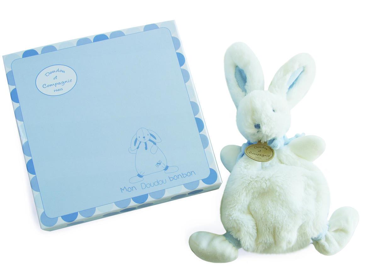 blue flat rabbit doudou 26cm + gift box   Trada Marketplace