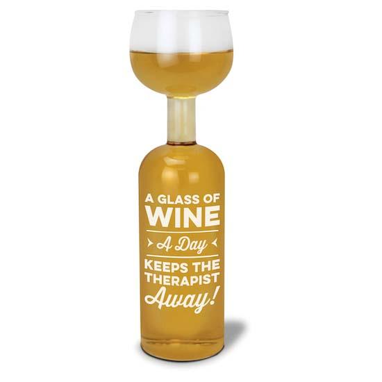BigMouth A Glass A Day Wine Bottle Glass   Trada Marketplace