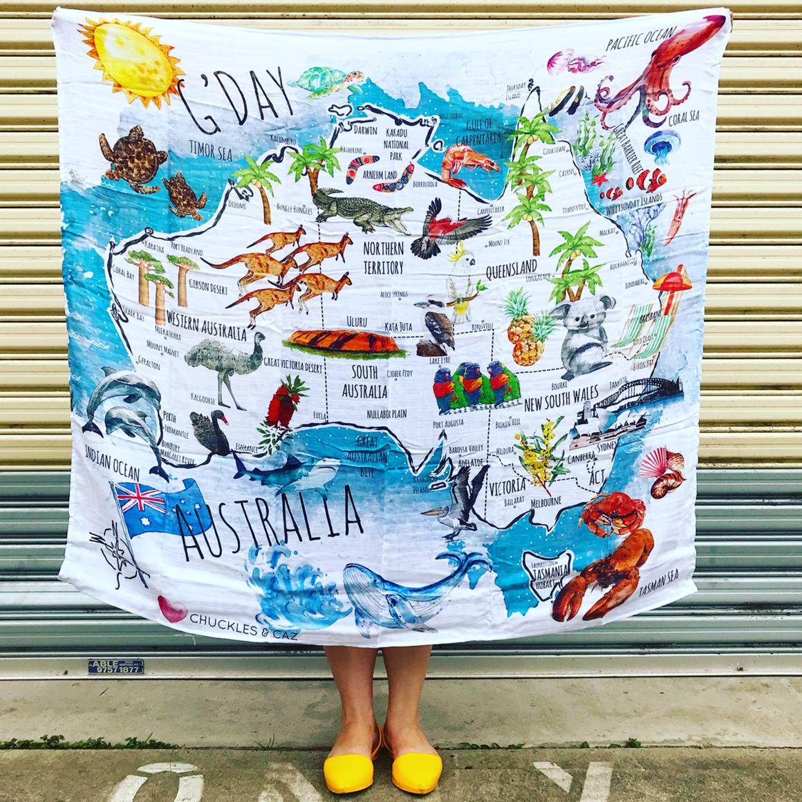 Australian Watercolour Map Muslin Swaddle | Trada Marketplace