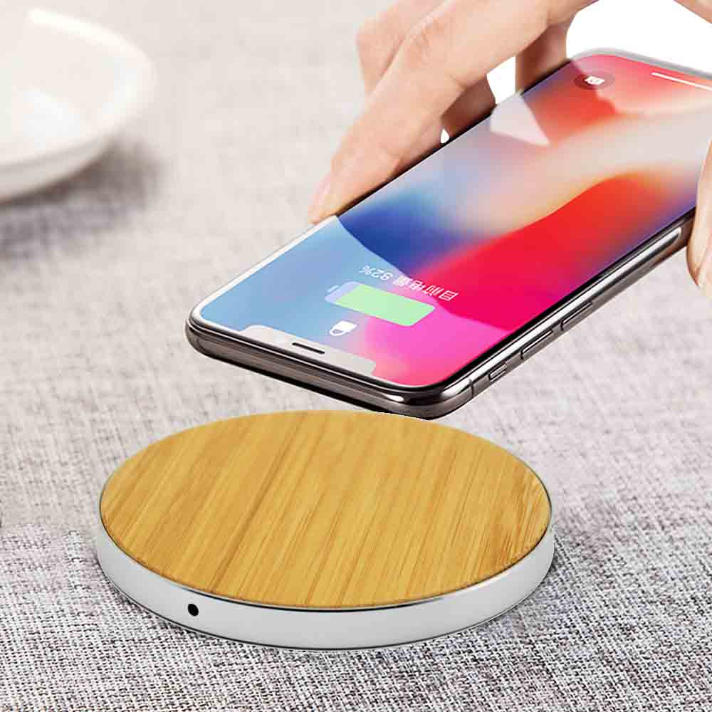 LuxeTech - Round Bamboo Wood+ Sliver Aluminum wireless charger   Trada Marketplace