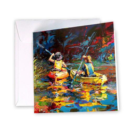 Summer on the Water Greeting Card / Kayaking Kids | Trada Marketplace