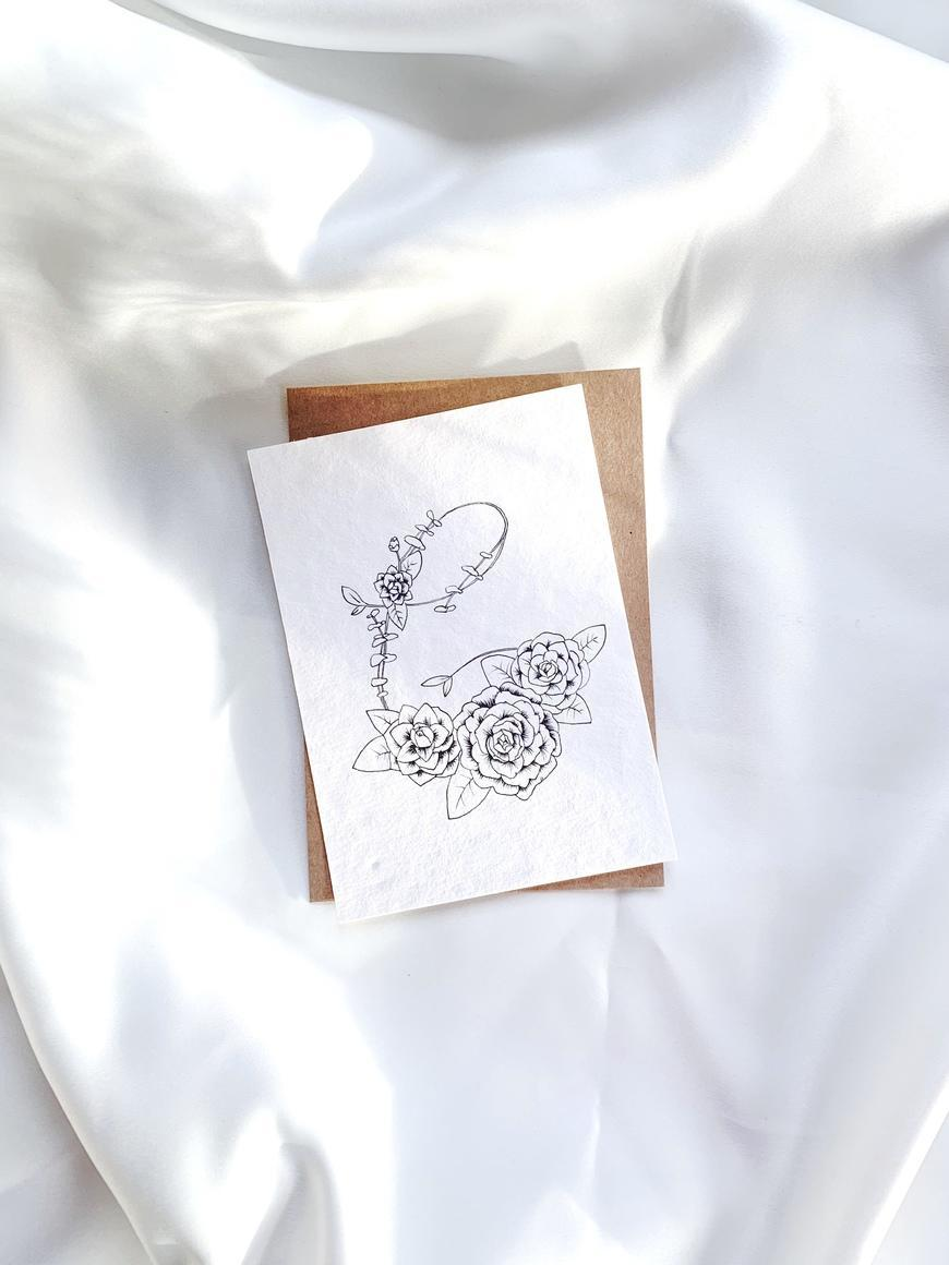 Lettering C Card With Camellia - B & W   Trada Marketplace