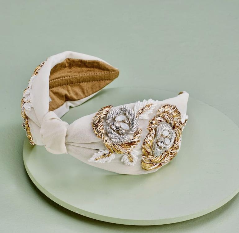 JACQUELINE Headband Ivory   Trada Marketplace