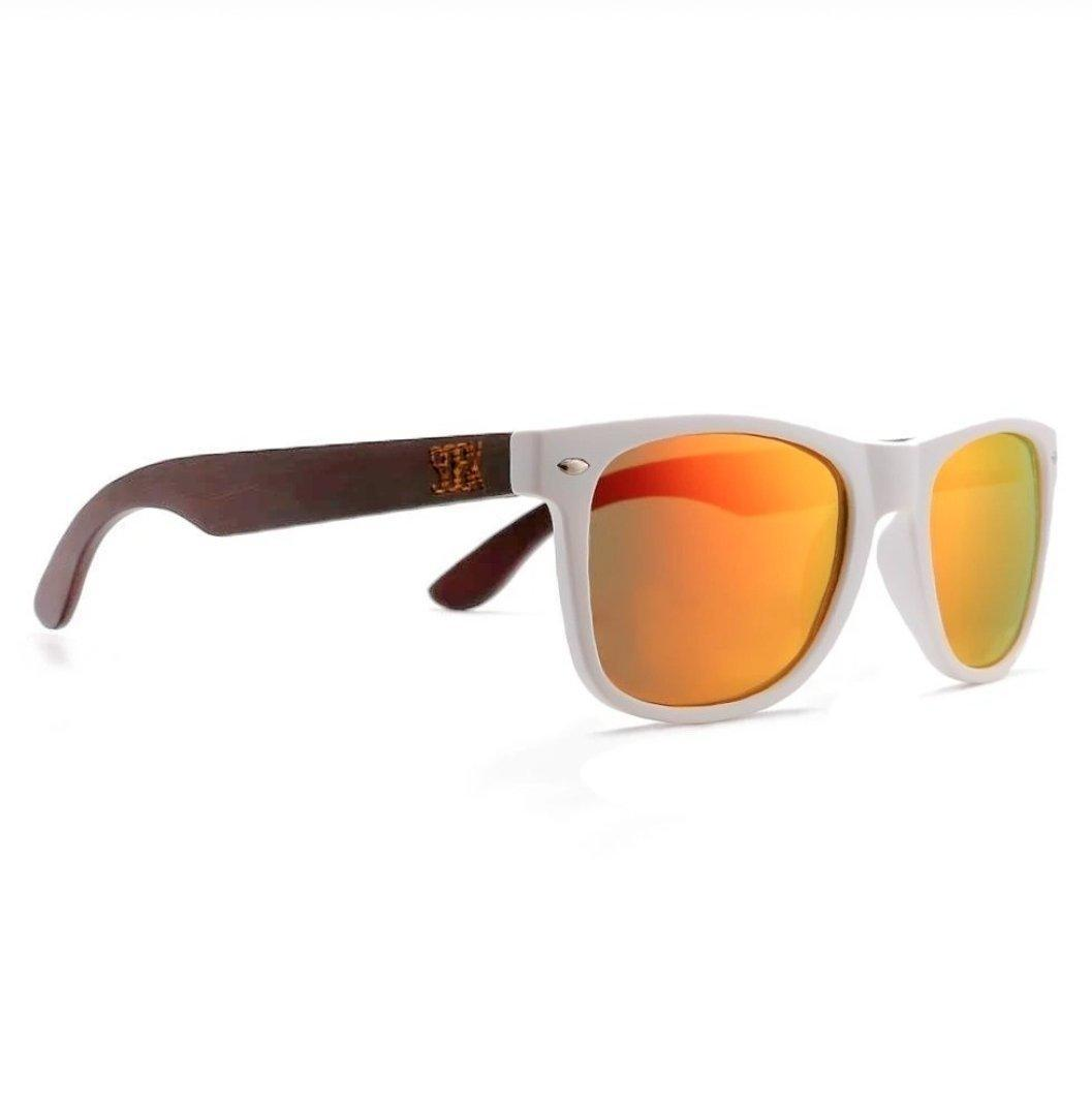 BELLS - White Bamboo Sunglasses with Red Polarized Lens - Adult | Trada Marketplace