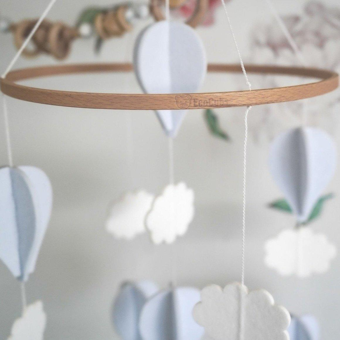 Baby Crib Mobile Hot Air - White and Pale Grey | Trada Marketplace