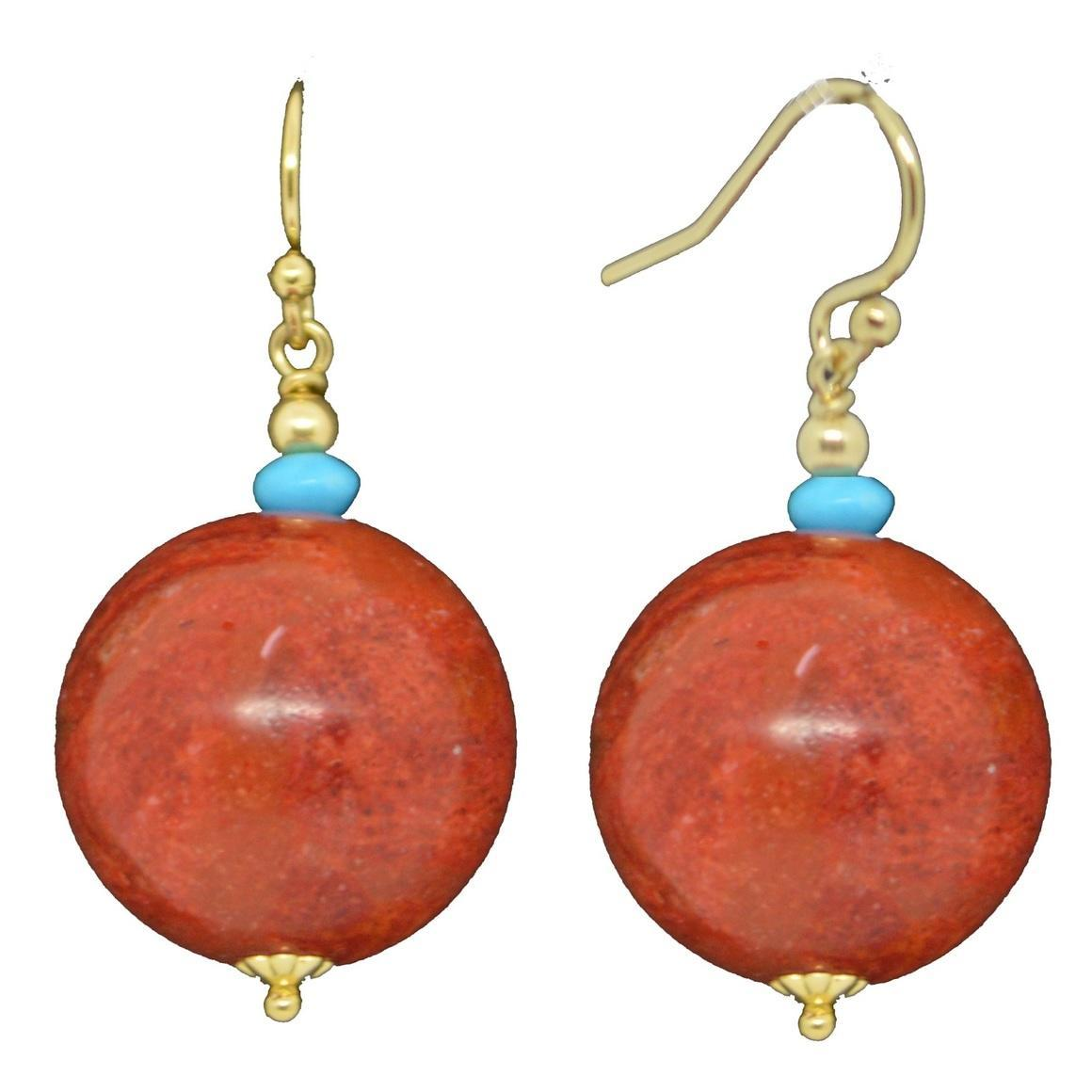 14k Gold filled with Sponge Coral and Turquoise Howlite Earrings | Trada Marketplace