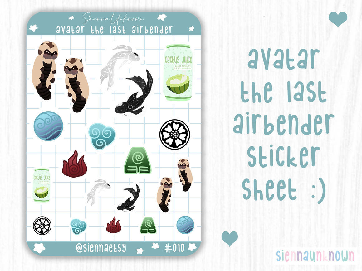 Avatar the last air bender sticker sheet | Trada Marketplace