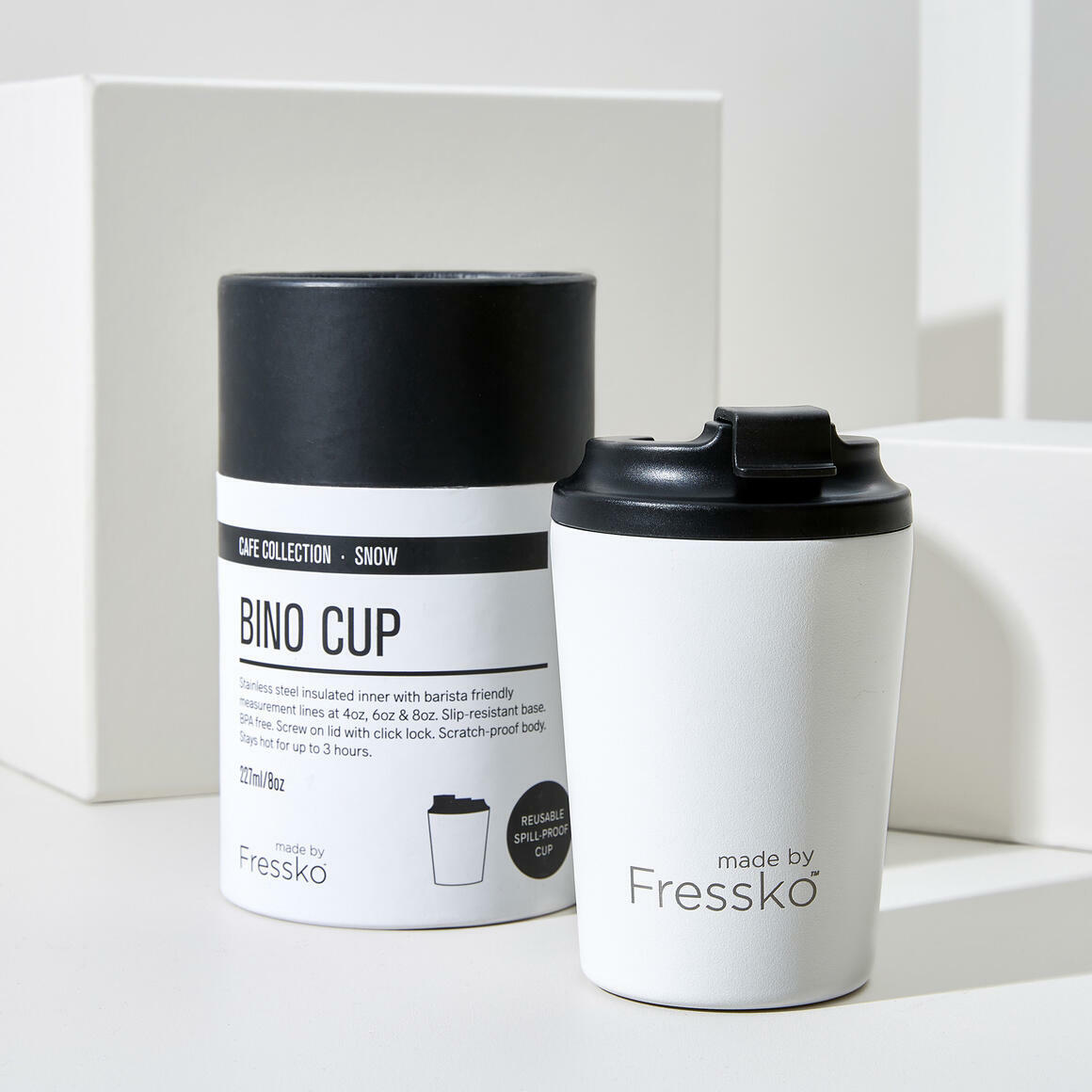 Fressko BINO 8oz Stainless Steel Reusable Cup WHITE | Trada Marketplace