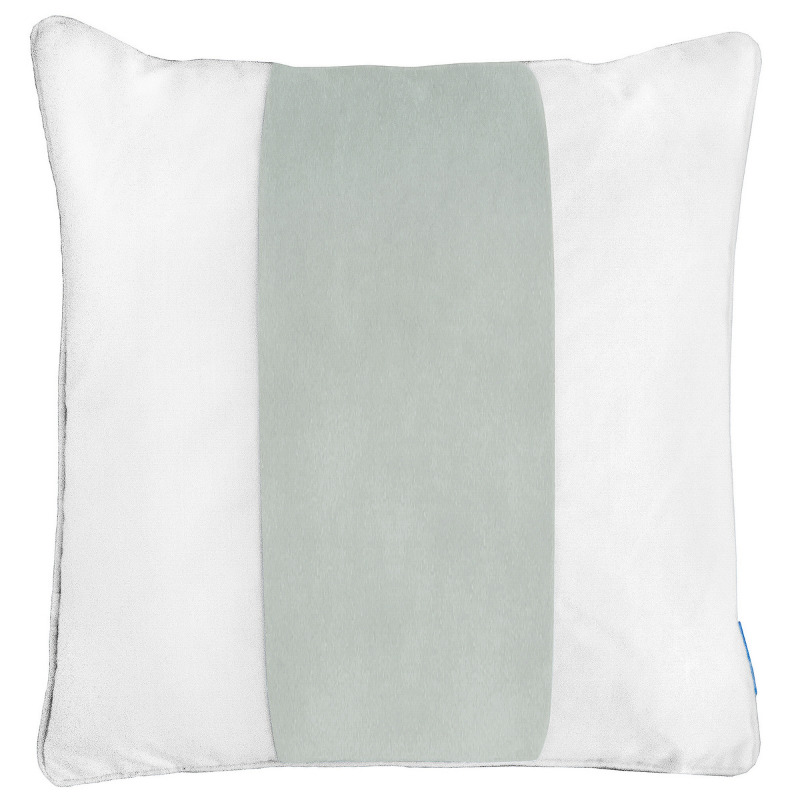 BADEN Fog Blue and White Panel Velvet Cushion Cover 50 cm by 50 cm   Trada Marketplace