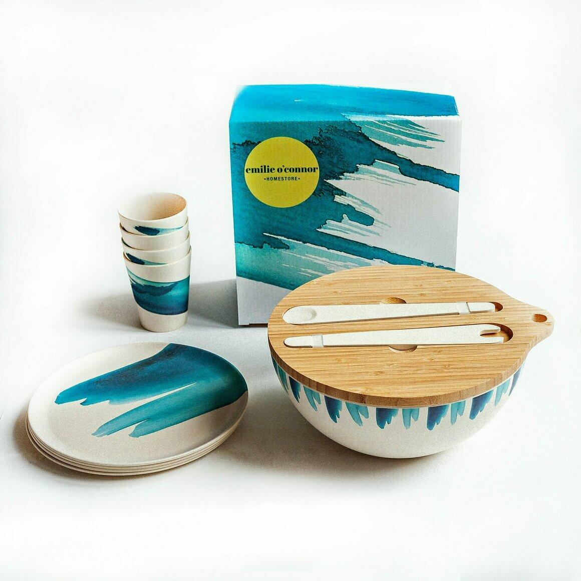 Dinnerware Gift Set with Blue Wave Design | Trada Marketplace
