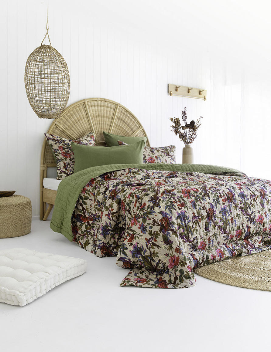 Olive Bird Floral Double Sided Cotton Quilt   Trada Marketplace