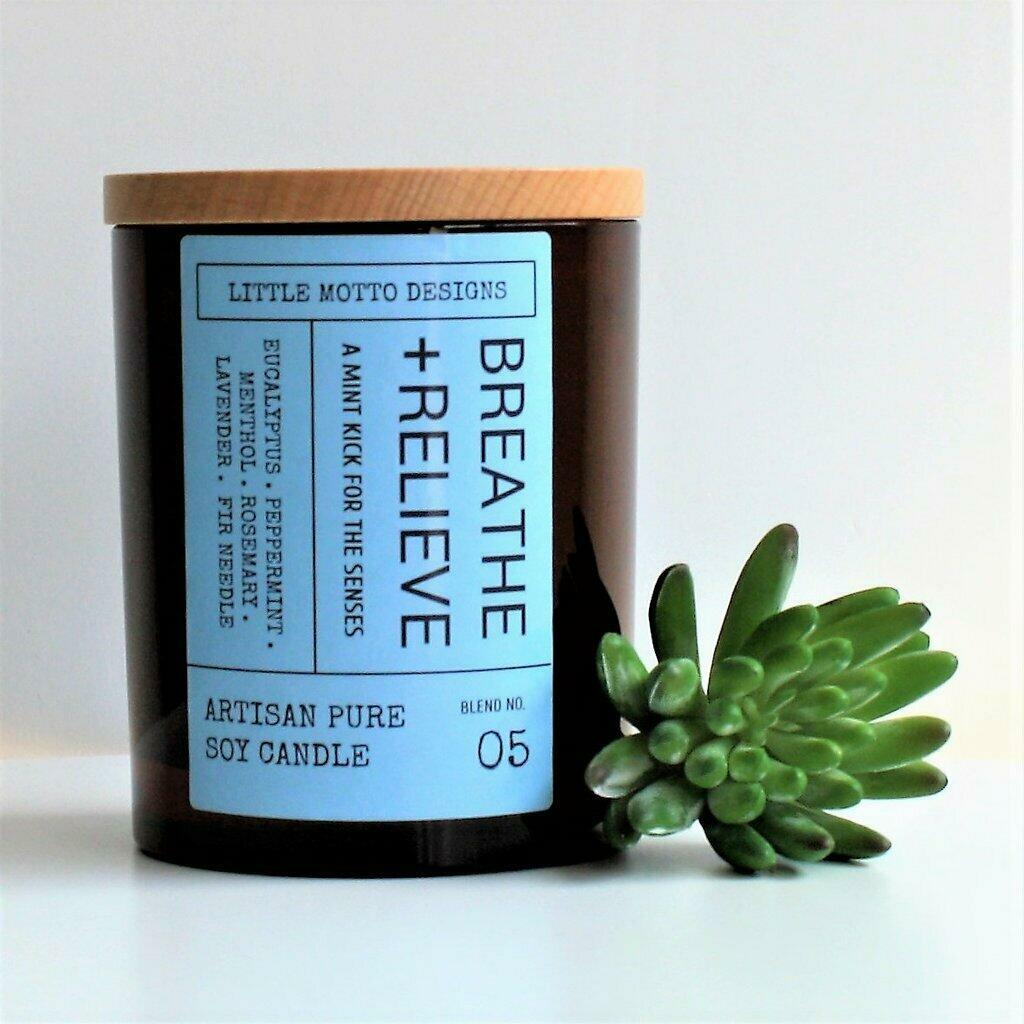Amber Brights Large Boxed Soy Candle - Breathe & Relieve | Trada Marketplace