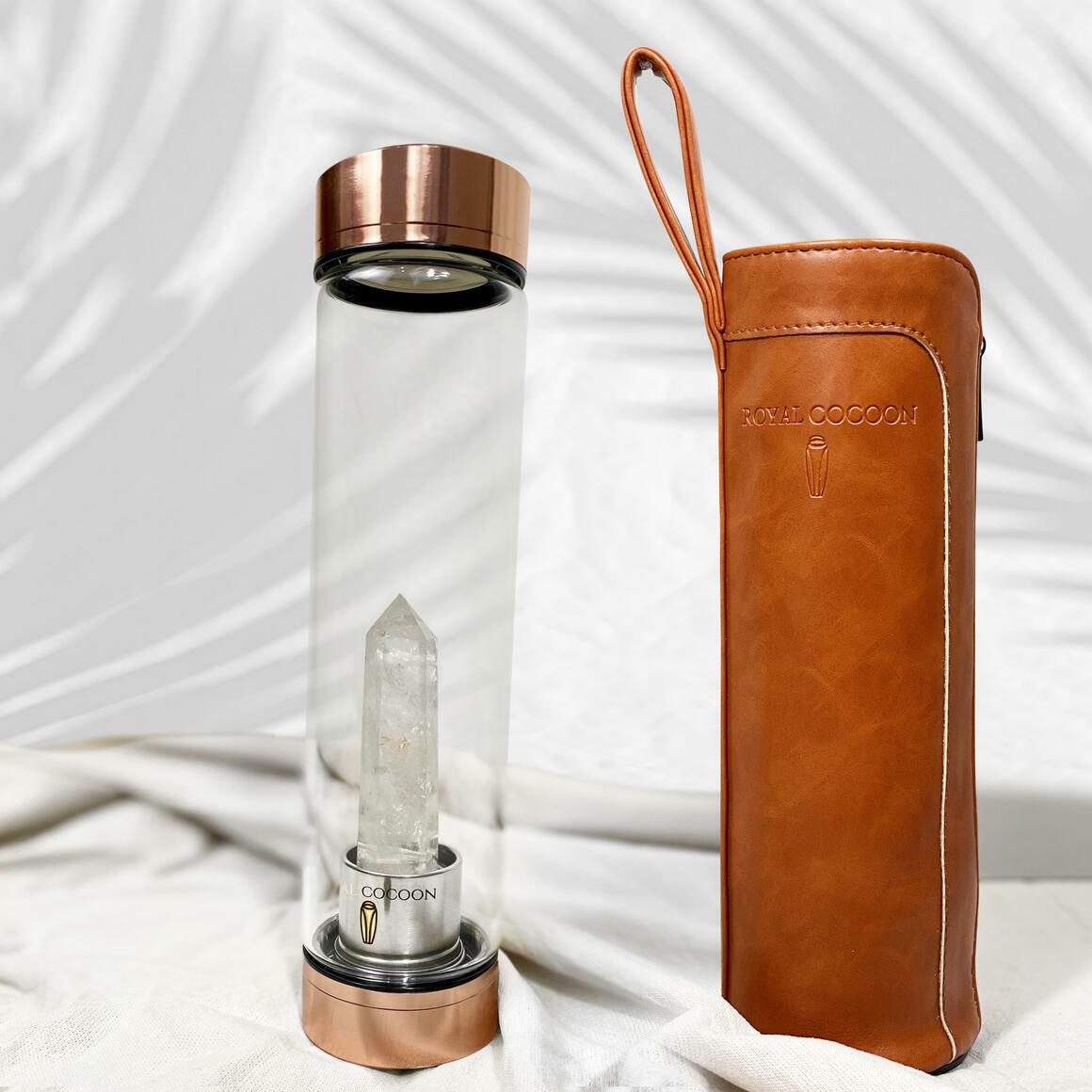 Clear Quartz ☽ Energy Rich Hydration Bottle - Rose Gold    Trada Marketplace
