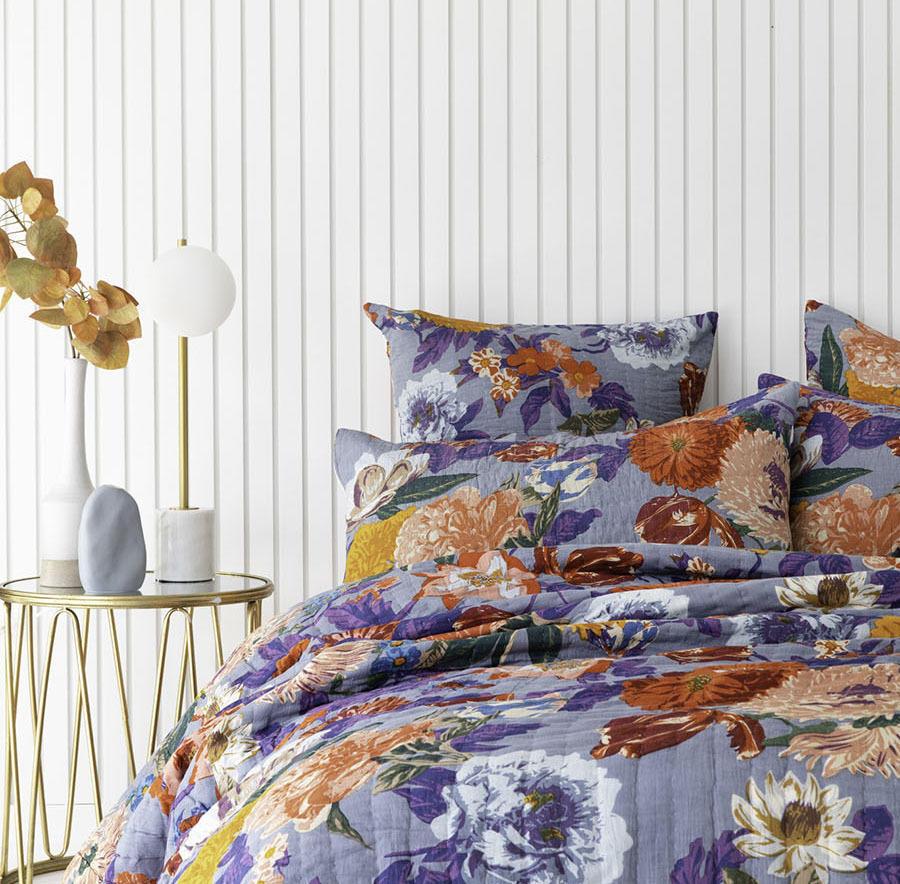 Blue / White Floral Garden Cotton Pillowcase / Euro   Trada Marketplace