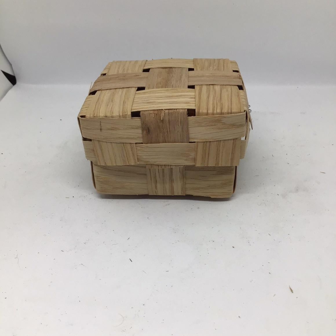 Wooden Box with lid (10x10x6cm) woven from reclaimed veneer - Hamper, gift box  | Trada Marketplace