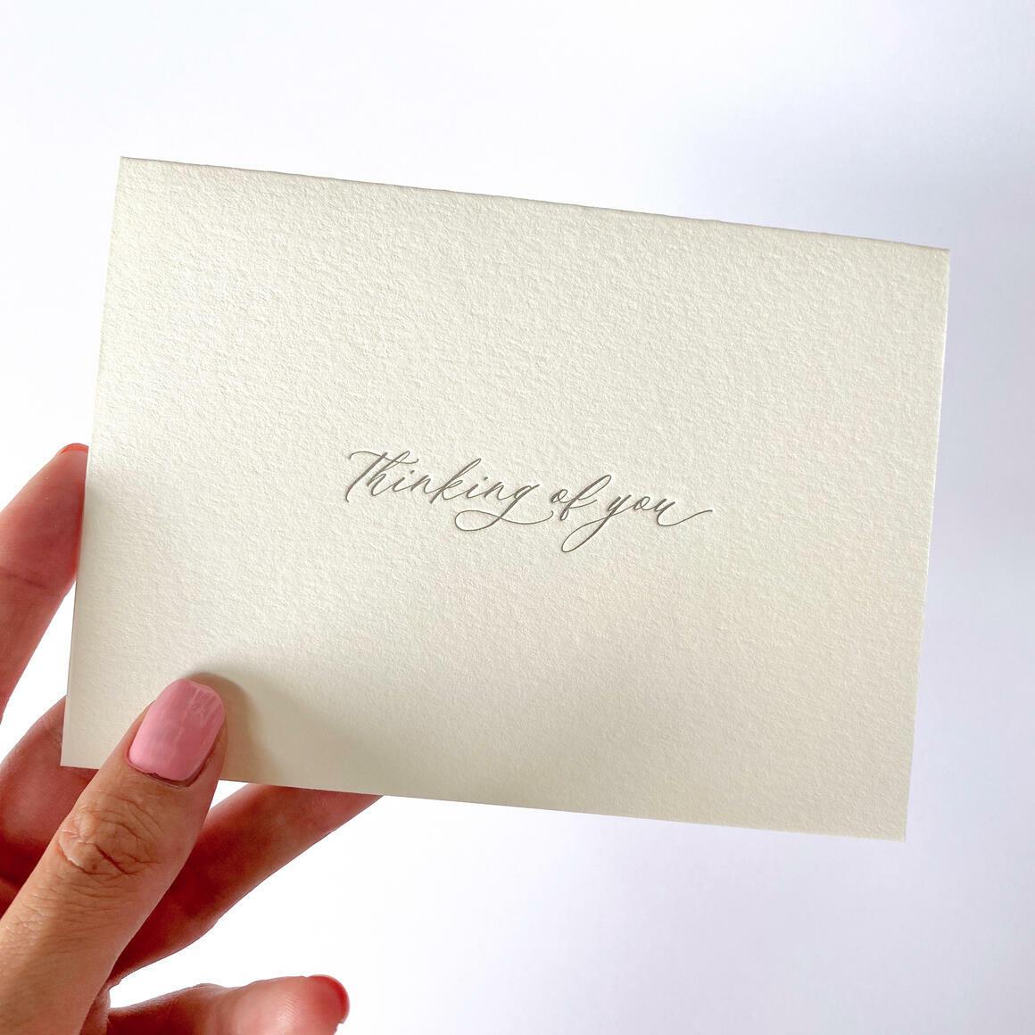 Thinking Of You   Letterpress Greeting Card   Trada Marketplace