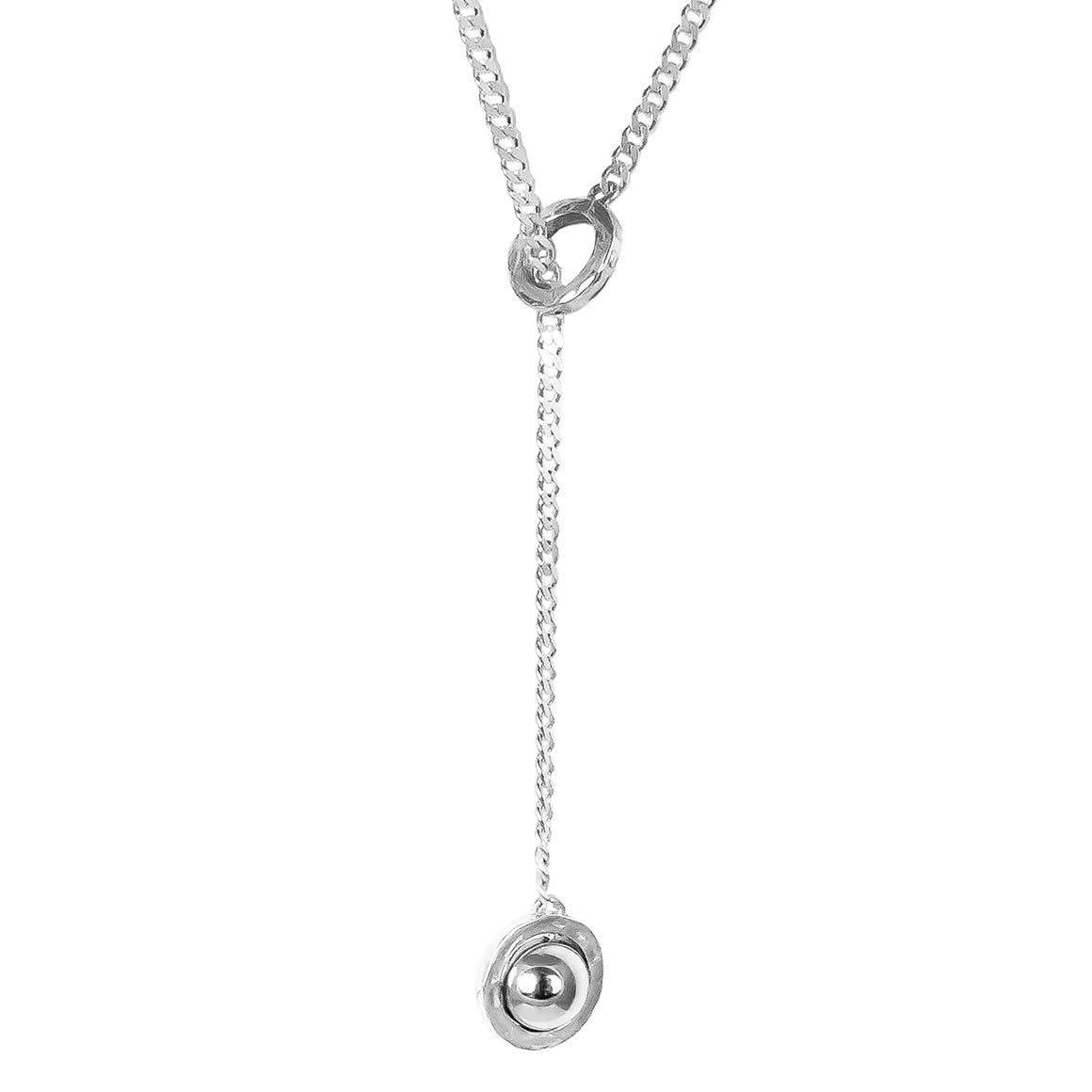 Atticus Large Charm Lariet Necklace | Polished Silver Detail | Trada Marketplace