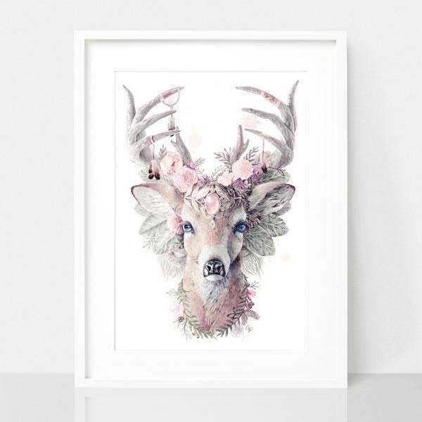 Bohemian Deer - Dusty Pink Print | Trada Marketplace