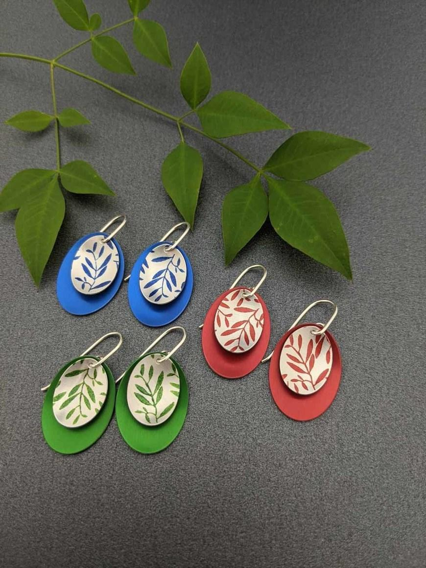 FOLIAGE – small double oval earrings   Trada Marketplace