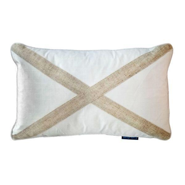 EASTWOOD White and Jute Cross Cushion Cover 30 cm by 50 cm   Trada Marketplace
