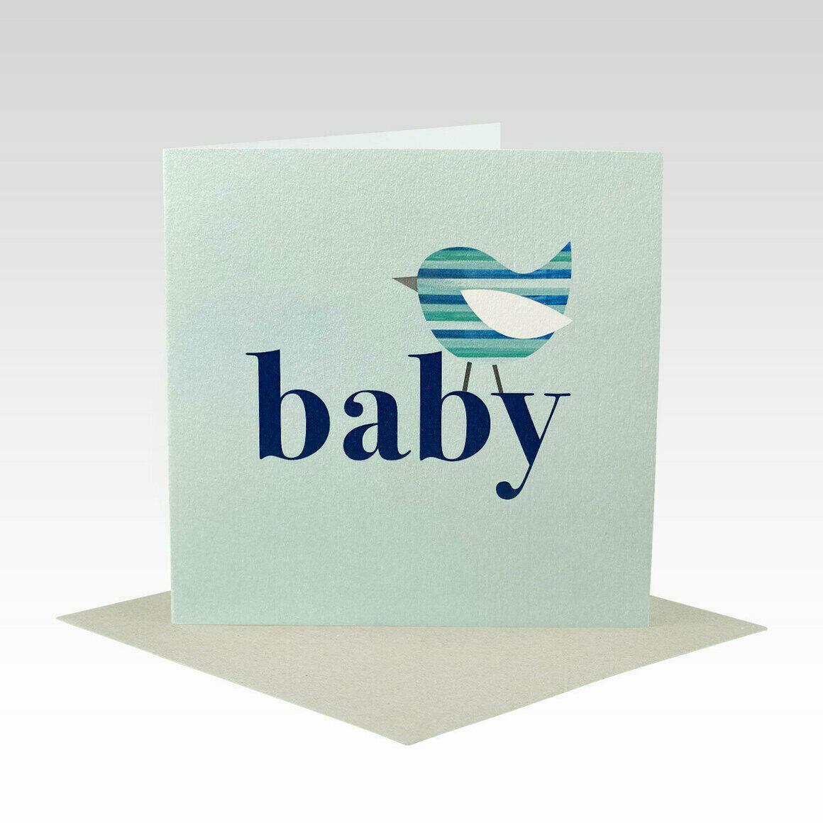 BAB025 – Blue Stripe Bird Baby Card   Trada Marketplace
