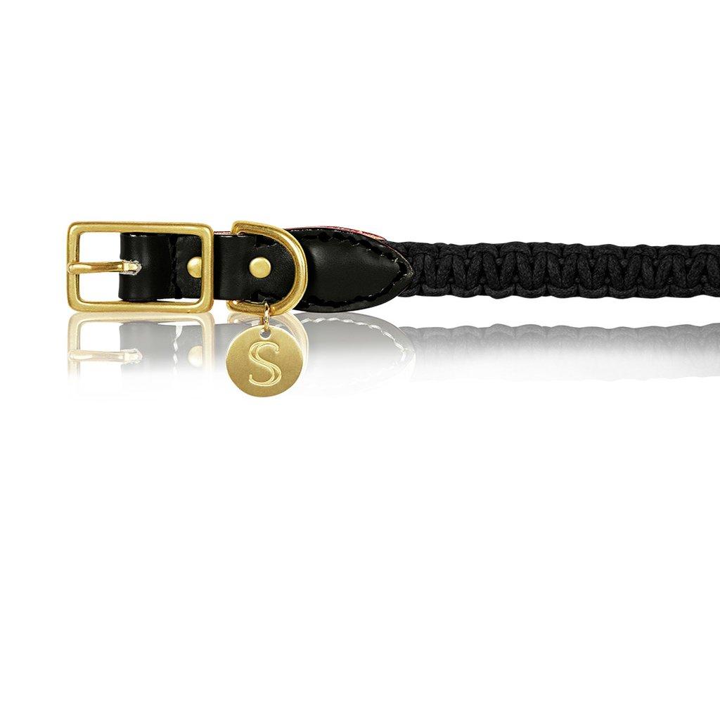 Macramé/Leather Dog Collar - Black   Trada Marketplace