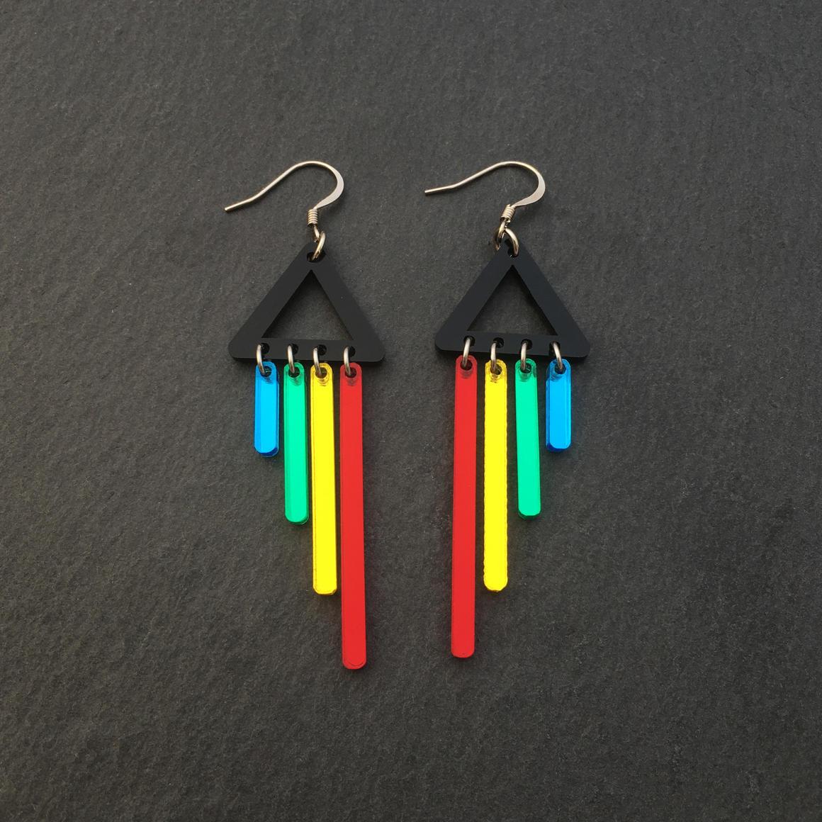Dangle Earrings -RAINBOW CHIMETTES - Red | Trada Marketplace