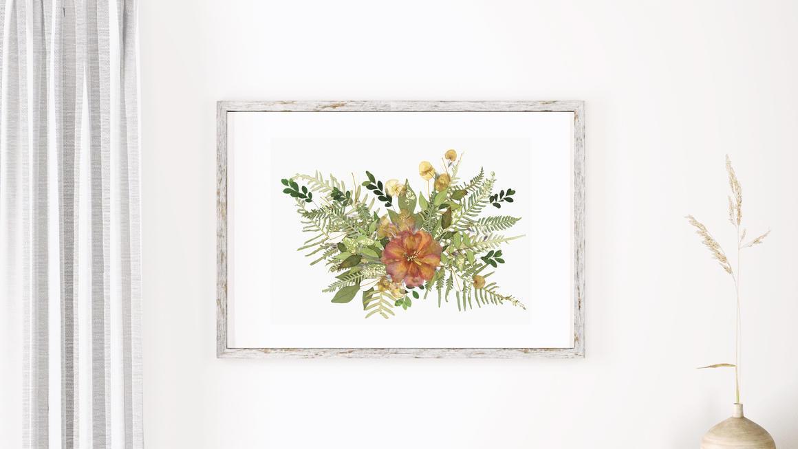 Botanical Camellia Pressed Flowers Artwork With Gold Flake   Trada Marketplace