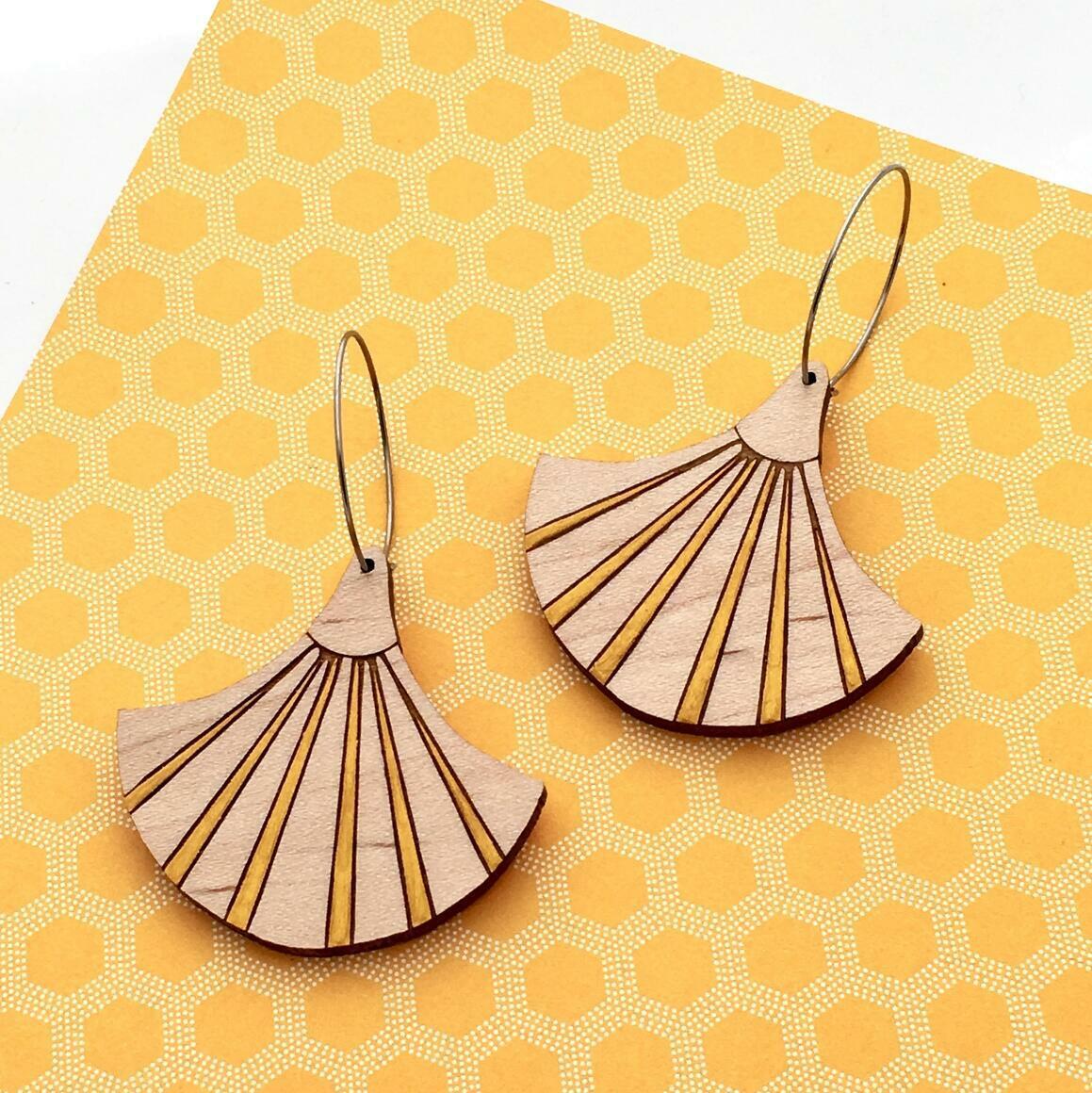 Deco Darling Maple Fan Earrings   Trada Marketplace