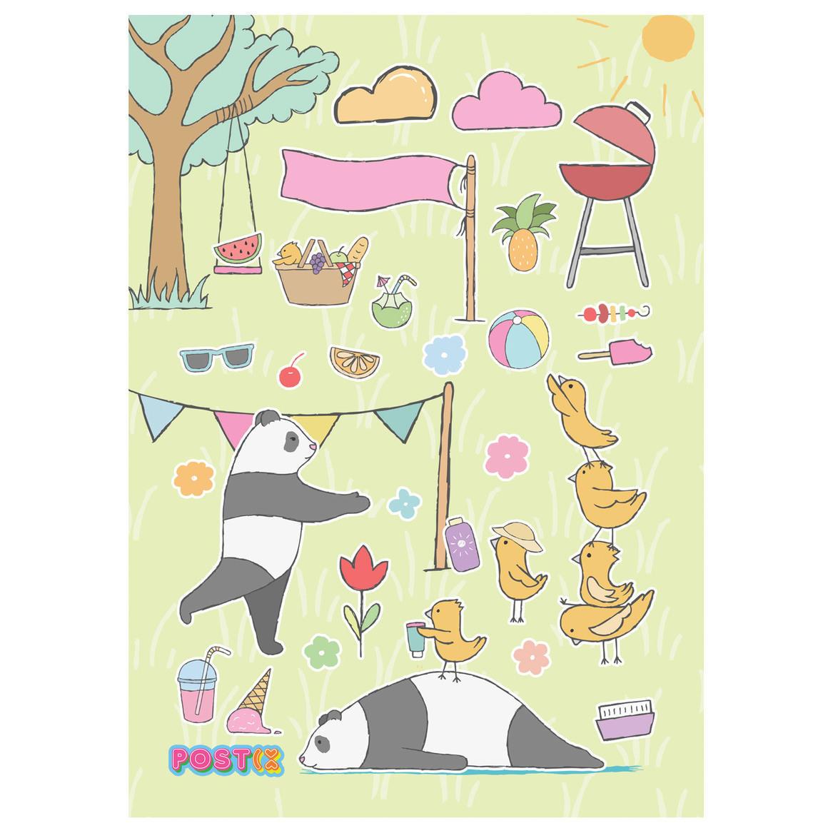 PANDAS PARK DAY A6 GLOSSY STICKER SHEET   Trada Marketplace