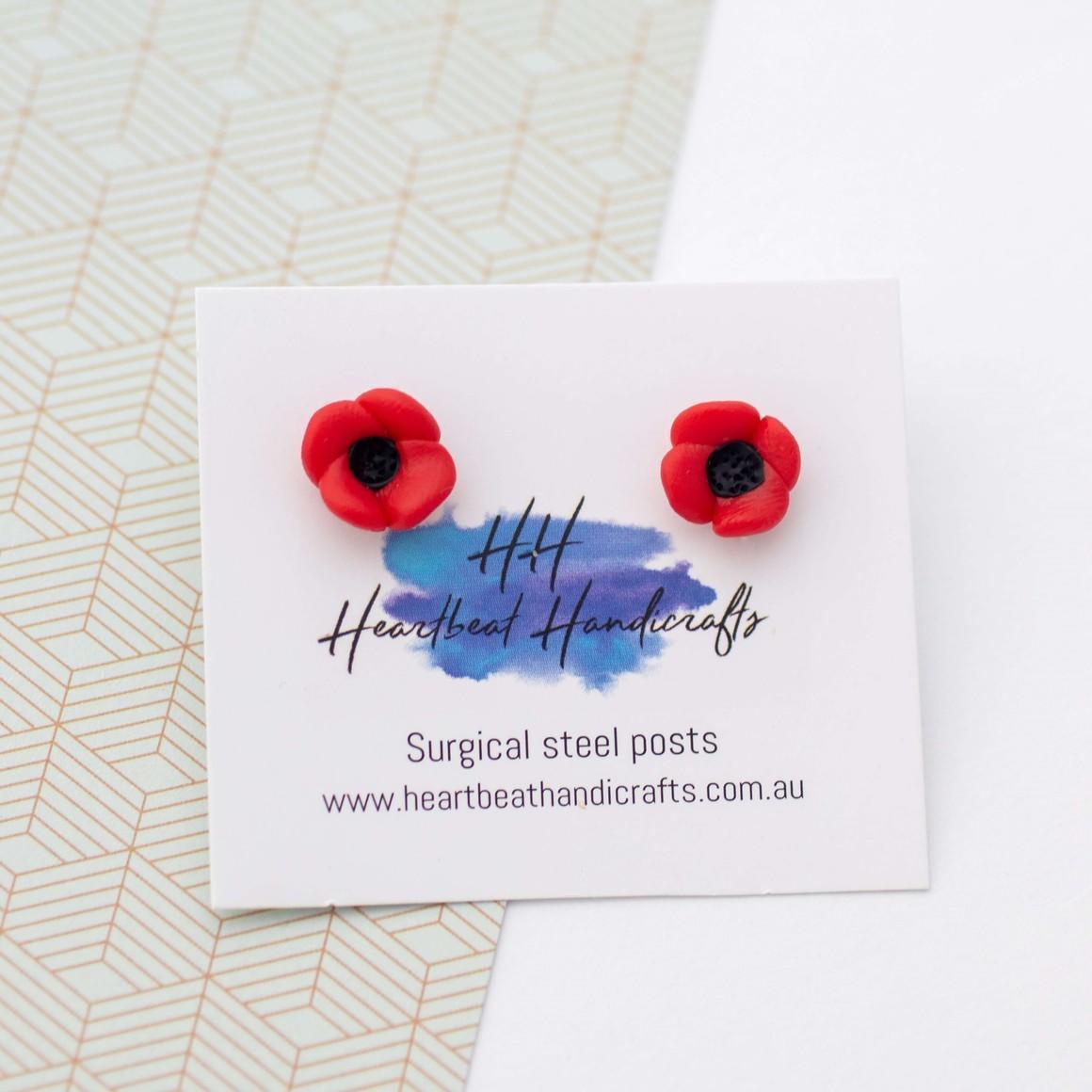 Poppy handmade stud earrings   Trada Marketplace