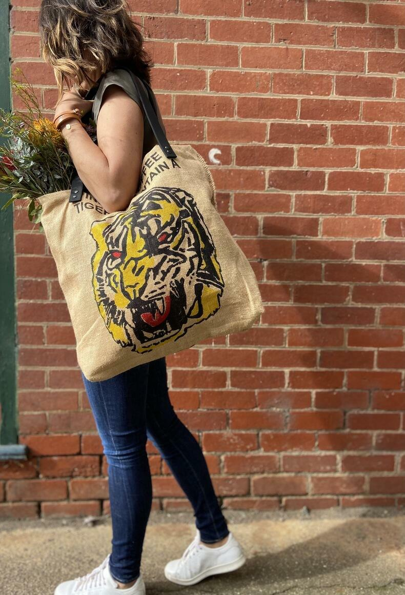 Upcycled Tote - Tiger  | Trada Marketplace