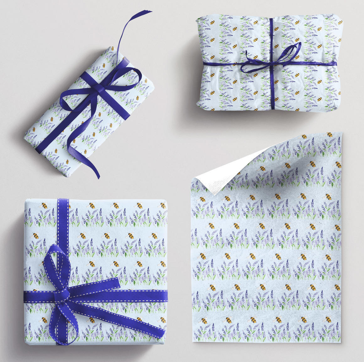 Wrapping paper single sheet Lavendar and Bee | Trada Marketplace