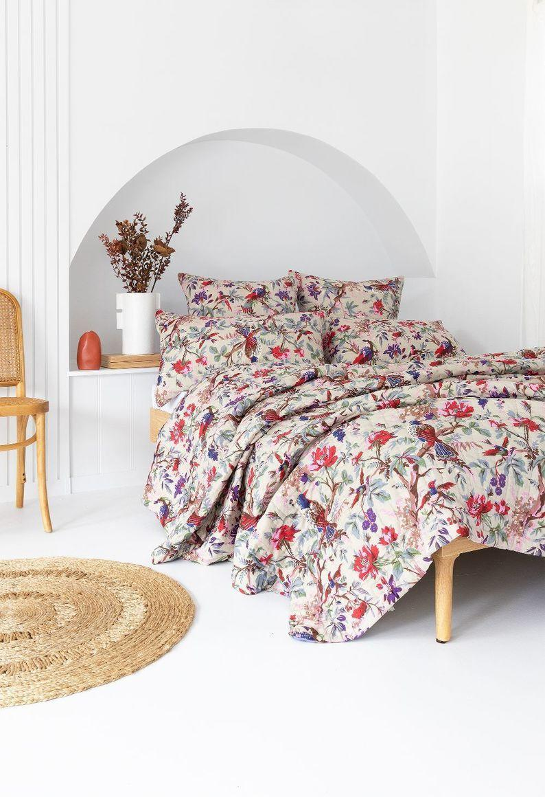 Sand/ Iris Bird Floral Double Sided Cotton Quilt   Trada Marketplace