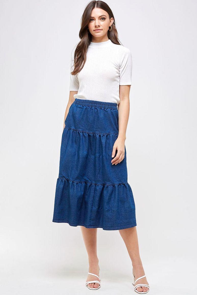 Maya Tiered Denim Skirt - Blue | Trada Marketplace