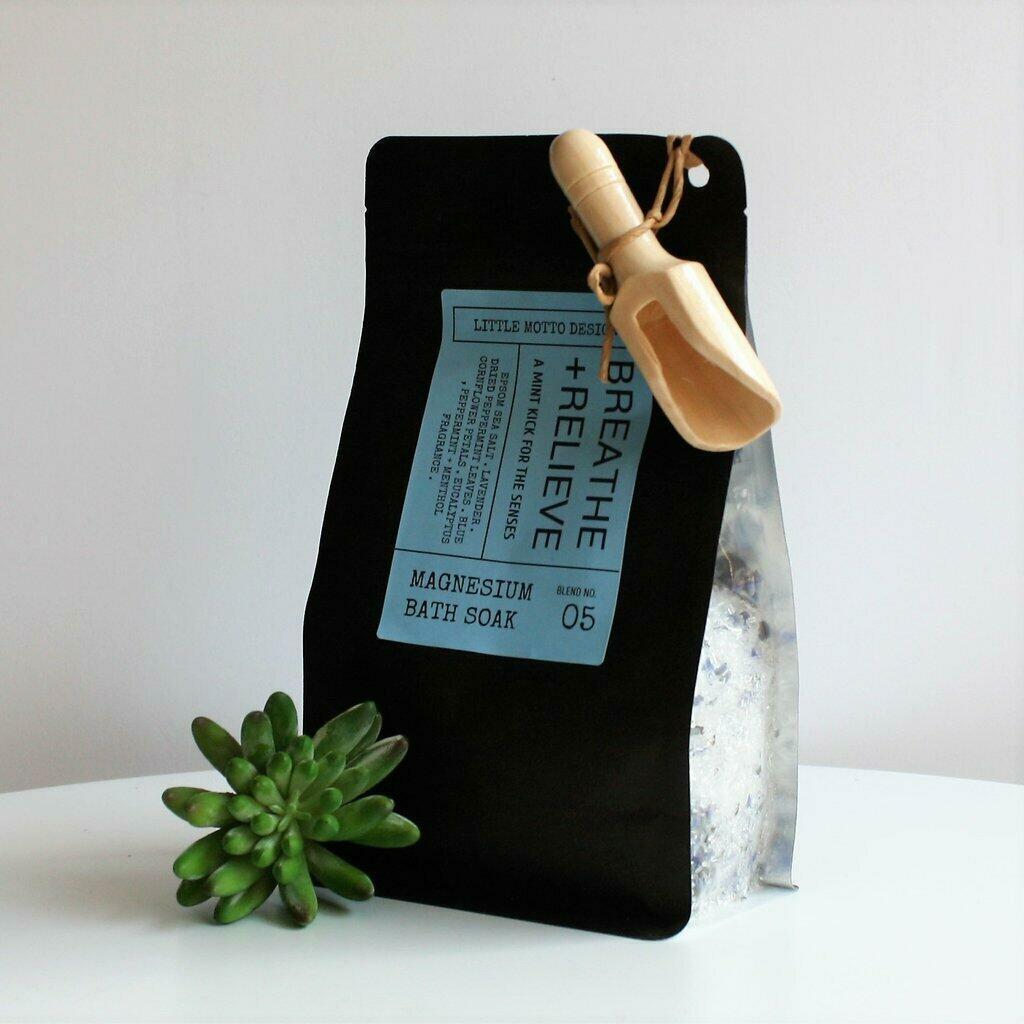 Magnesium Bath Salts with Scoop - Breathe & Relieve | Trada Marketplace