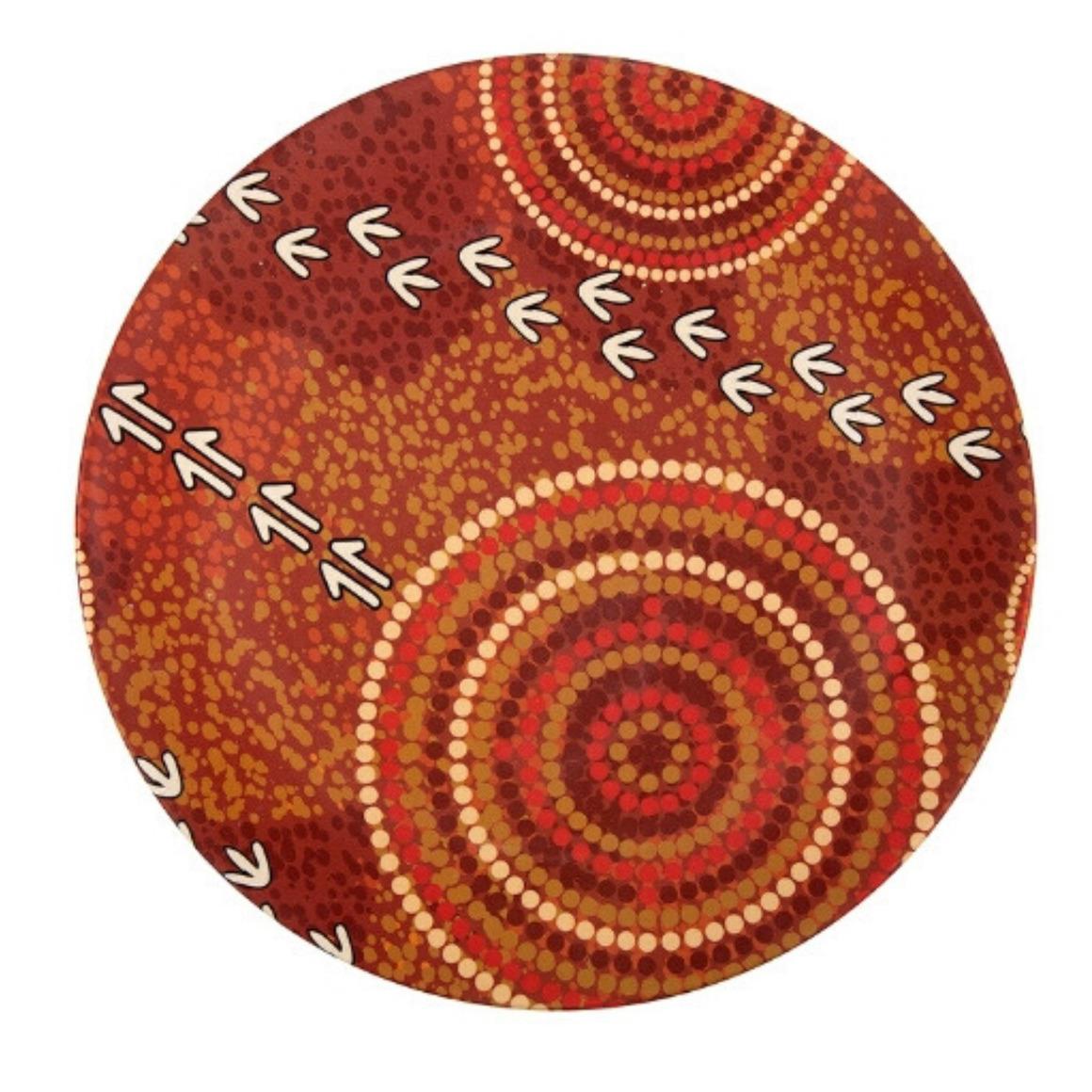 Plate Bamboo Aboriginal Design - Dry Design - Luther Cora (Set of 2)   Trada Marketplace