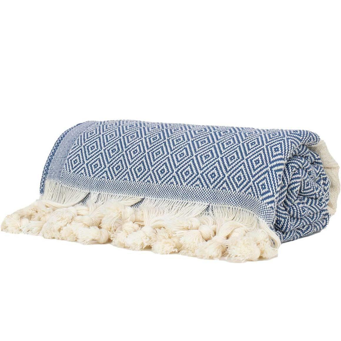 NAVY AND WHITE TURKISH TOWEL - THICK | Trada Marketplace